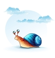 Cheerful snail on a background of sky with clouds