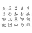 chess game line icon set vector image