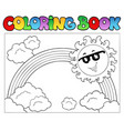 coloring book with sun and rainbow vector image vector image
