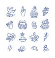 cool doodle tattoo set vector image