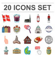 country denmark cartoon icons in set collection vector image vector image