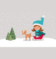 cute girl santa helper with sled and reindeer vector image vector image