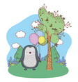 cute little penguin with balloons helium in the vector image