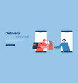 delivery service worker in phone app web template vector image