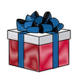 drawing gift box with flag america color vector image