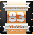 Eighty three years anniversary celebration golden vector image vector image