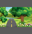 empty road in the green park vector image vector image