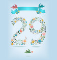floral number twenty nine with ribbon and birds vector image vector image