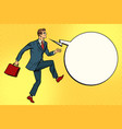 funny businessman is stepping forward vector image vector image