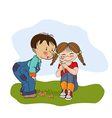 funny girl with icecream vector image vector image