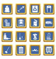 garbage thing icons set blue vector image vector image