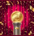 golden bitcoin on a pedestal vector image vector image