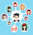 Graduation famale student make career choices vector image