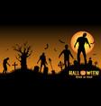 halloween zombies in a graveyard vector image vector image