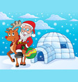 igloo with santa claus theme 2 vector image vector image
