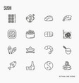 japanese food thin line icons set sushi noodle vector image vector image
