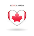 love canada symbol flag heart glossy icon vector image vector image