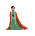 majestic queen in red mantle european medieval vector image