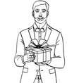 man holds big gift box a guy with christmas or vector image