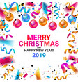 merry christmas and happy new year 2019 vector image vector image