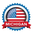 Michigan and USA flag badge vector image