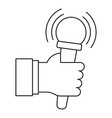 microphone in hand icon outline style vector image