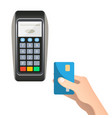 payment terminal with credit card vector image vector image