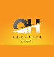 qh g h letter modern logo design with yellow vector image vector image