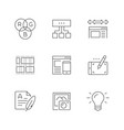 set line icons web design vector image