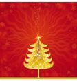 Shining golden christmas tree vector image vector image