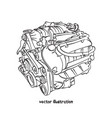 sketch of car engine vector image vector image