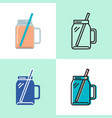 smoothie cup icon set in flat and line styles vector image
