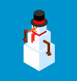 snowman isometric style christmas and new year vector image vector image