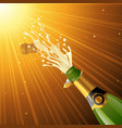 splashing champagne vector image vector image