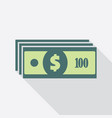 stack one hundred dollars banknotes icon vector image vector image