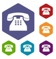 Telephone rhombus icons vector image vector image