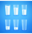 Transparent realistic glasses of milk vector image