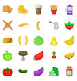 vegetable diet icons set cartoon style vector image vector image