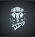 vintage retro logo with elephant vector image vector image