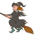 witch flying on the broom halloween vector image