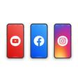 youtube facebook instagram logo on iphone screen vector image vector image