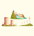 alternative energy sources cartoon set vector image