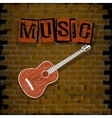 musical background with brick wall vector image