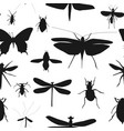silhouettes set of beetles dragonflies and vector image