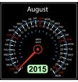 2015 year calendar speedometer car in August vector image