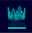 3d crown made lines and dots mesh low poly vector image vector image