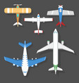 airplane top view and aircraft vector image vector image
