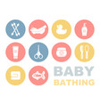 baby bathing and care icons vector image vector image