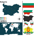 Bulgaria map world vector image vector image