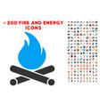 campfire icon with bonus fire clipart vector image
